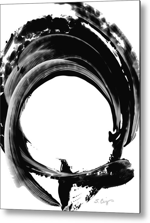 Abstract Metal Print featuring the painting Black Magic 304 By Sharon Cummings by Sharon Cummings