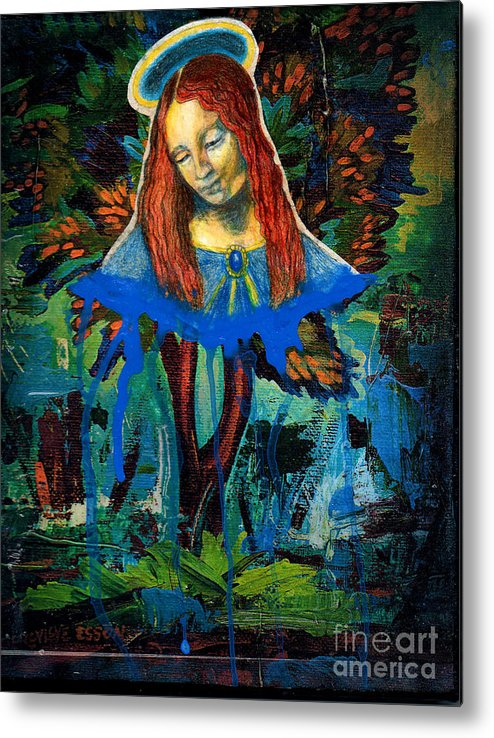 Mary Metal Print featuring the painting Blue Madonna In Tree by Genevieve Esson