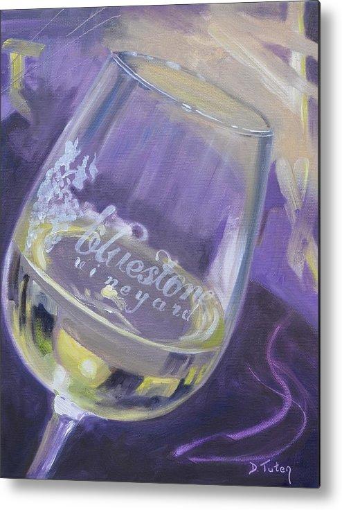 Wine Metal Print featuring the painting Bluestone Vineyard Wineglass by Donna Tuten