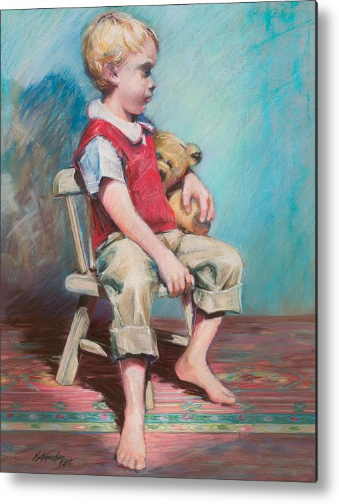 Child Metal Print featuring the pastel Boy In Chair by Beverly Amundson