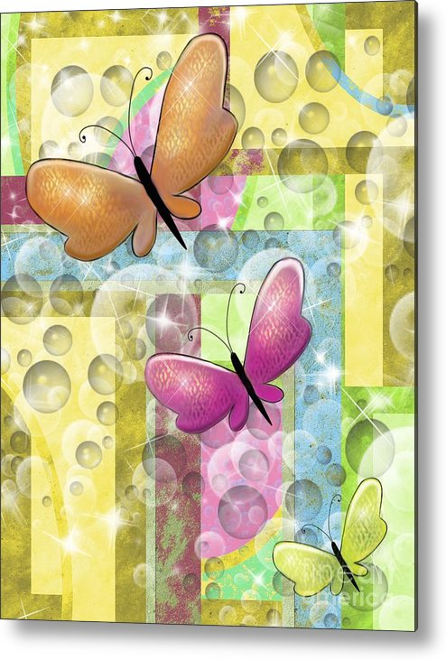 Butterfly Metal Print featuring the painting Butterfly Dreams by Karen Sheltrown