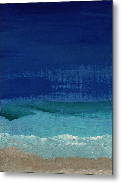 Abstract Art Metal Print featuring the painting Calm Waters- Abstract Landscape Painting by Linda Woods