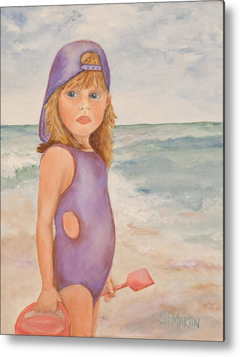 Children Metal Print featuring the painting Capturing Attitude by Annie St Martin