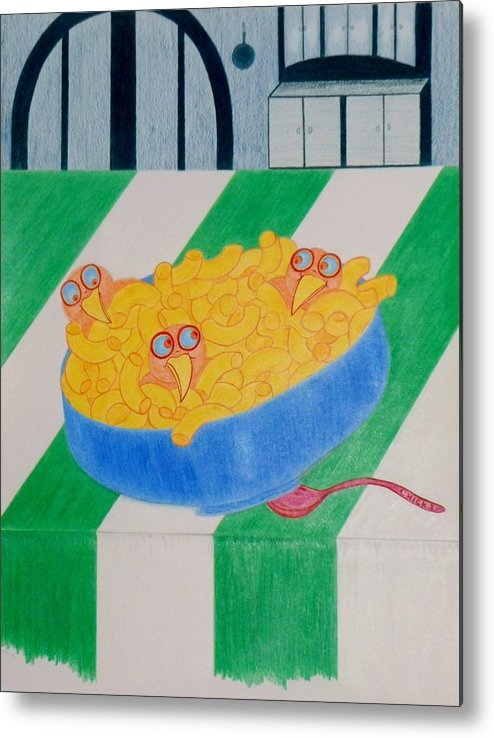 Chicks Metal Print featuring the drawing Chickadee Chick Macaroni by Debra Barrie