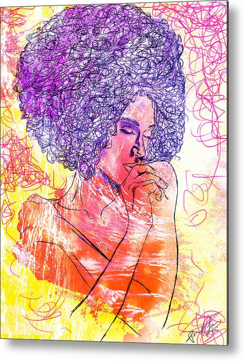 Colored Woman Metal Print featuring the drawing Colored Woman by Kenal Louis