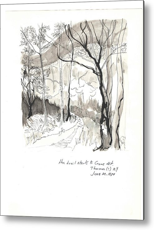 Landscape Metal Print featuring the drawing Crane Mtn Trailhead by HelenWithRobert Ringlee