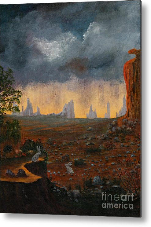 Dark Sky Metal Print featuring the painting Desert Storm by Myrna Walsh