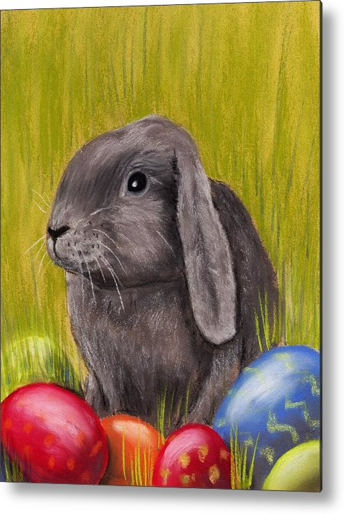 Rabbit Metal Print featuring the painting Easter Bunny by Anastasiya Malakhova