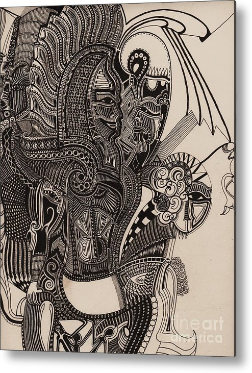 Pen Metal Print featuring the drawing Egypt Walking by Michael Kulick