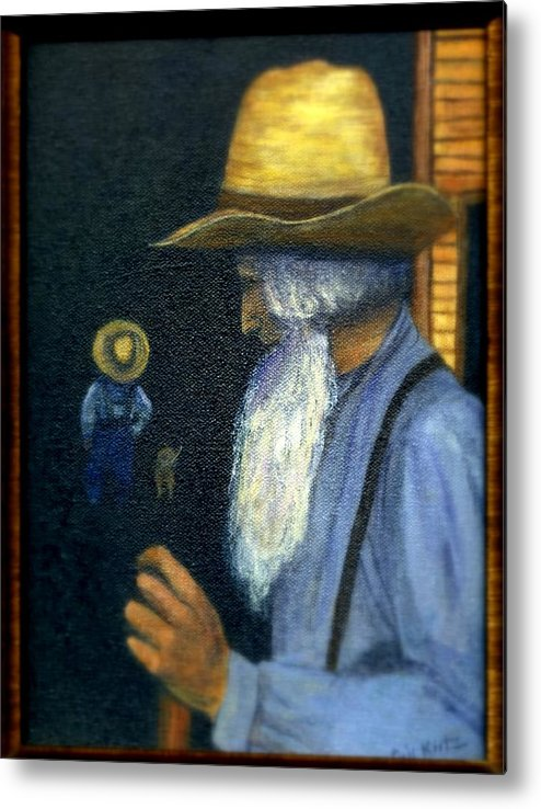 Men Metal Print featuring the painting Eli Remembers by Gail Kirtz