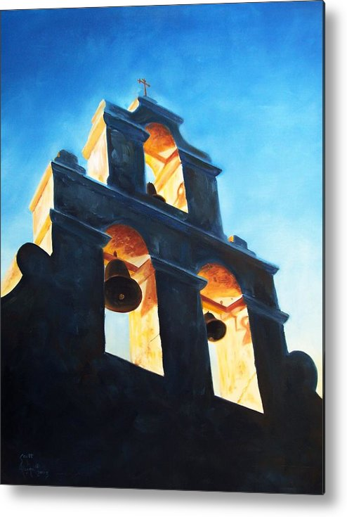 Building Metal Print featuring the painting Evening Mission by Scott Alcorn