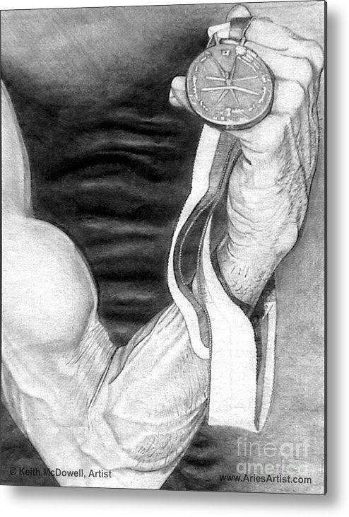 Muscle Metal Print featuring the drawing Flex @ Ariesartist.com by AriesArtist Com