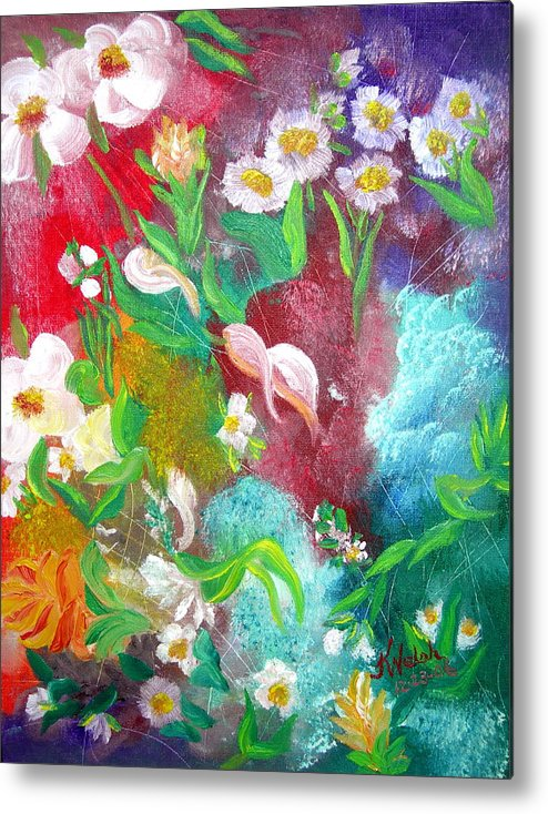 Abstract Metal Print featuring the painting Floral Fantasy by Kathern Welsh