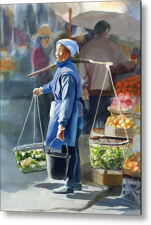 Chinese Metal Print featuring the painting Gathering Greens by Sharon Freeman