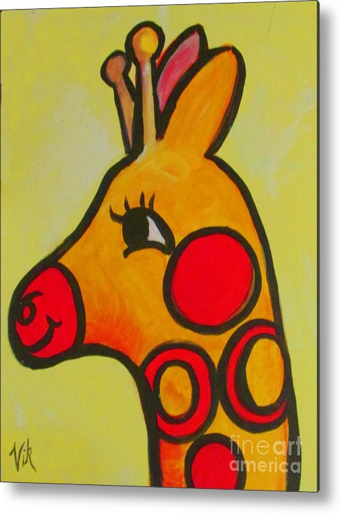 Children's Room Metal Print featuring the painting Giraffe by Lyn Vic