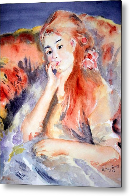 Watercolor Girl Chair Hair Smile Lounging Colors Metal Print featuring the painting Girl Lounging After Renoir by Nancy Pratt