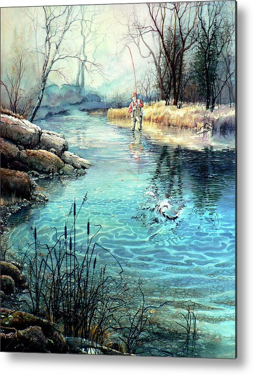Fly Fishing Metal Print featuring the painting Gotcha by Hanne Lore Koehler