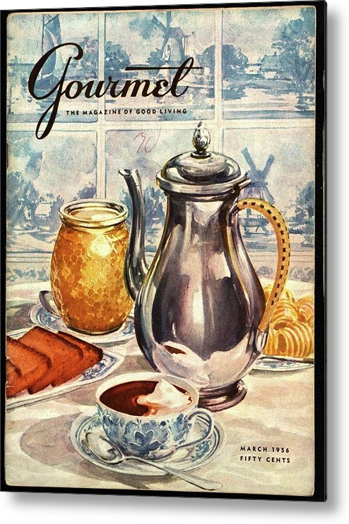 Illustration Metal Print featuring the photograph Gourmet Cover Featuring An Illustration by Hilary Knight