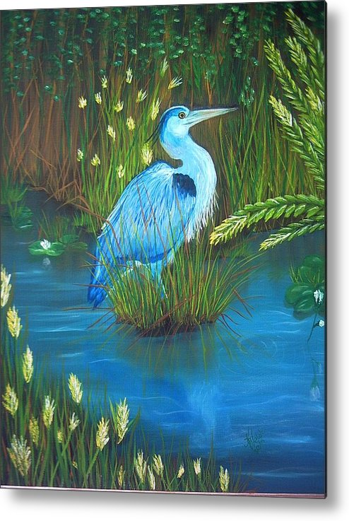 Birds Metal Print featuring the painting Great Blue Heron by Kathern Welsh