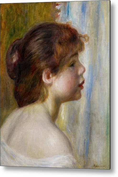 Renoir Metal Print featuring the painting Head Of A Young Woman by Pierre Auguste Renoir