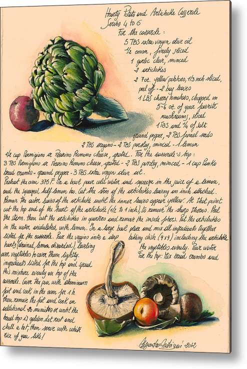 Green Metal Print featuring the painting Hearty Casserole by Alessandra Andrisani
