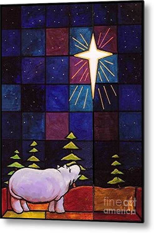 Christmas Metal Print featuring the painting Hippo Awe And Wonder by Jim Harris