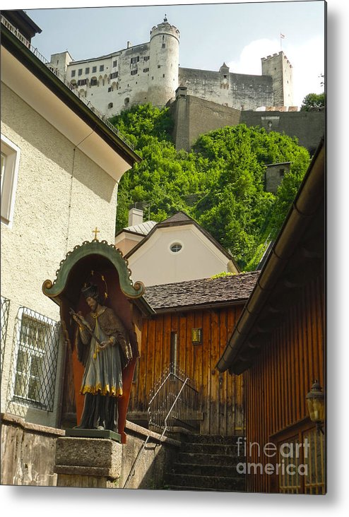 Hohensalzburg Castle Metal Print featuring the photograph Hohensalzburg Castle In Salzburg Austria by Gregory Dyer
