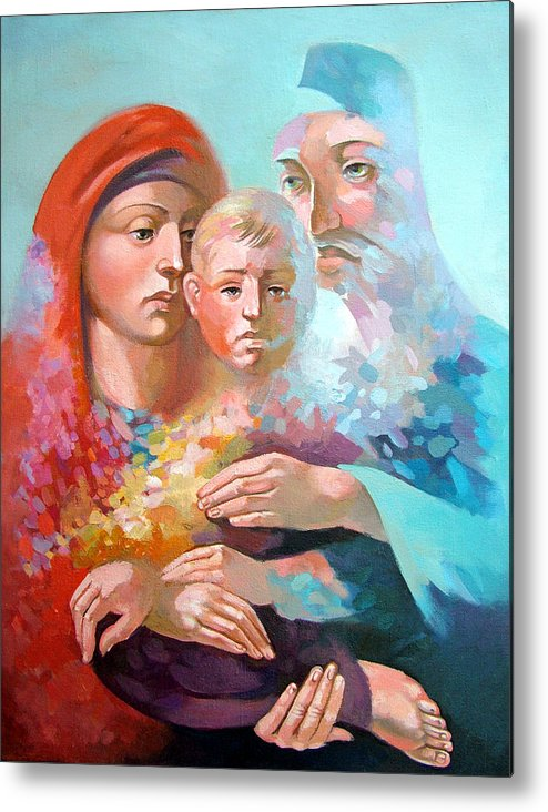 Saint Mary Metal Print featuring the painting Holy Family by Filip Mihail
