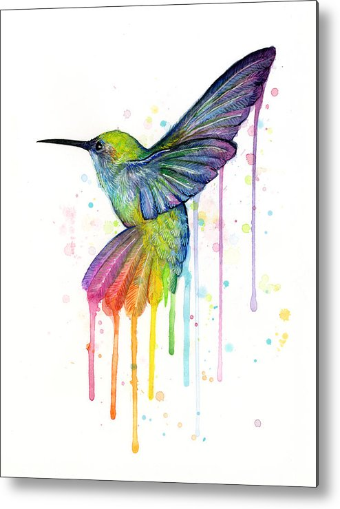 Hummingbird Metal Print featuring the painting Hummingbird Of Watercolor Rainbow by Olga Shvartsur