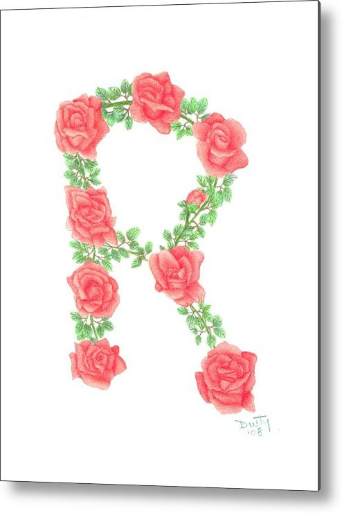 Roses Metal Print featuring the drawing Initial R Or Any Initial by Dusty Reed
