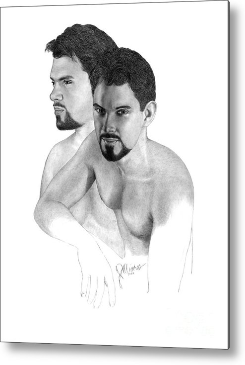 Pencil Drawing Print Metal Print featuring the drawing Intense Stare by Joe Olivares