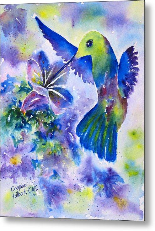 Hummingbird Metal Print featuring the painting Jewel In Flight by Corynne Hilbert