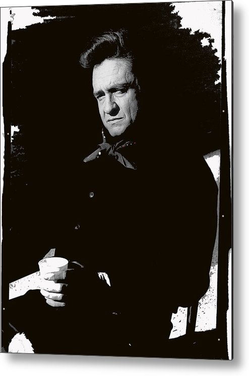Johnny Cash Sitting With Cup Old Tucson Az Man In Black Photographer Frank Bez Us Postal Service Music Icons Series Metal Print featuring the photograph Johnny Cash Sitting With Cup Old Tucson Arizona 1971-2009 by David Lee Guss