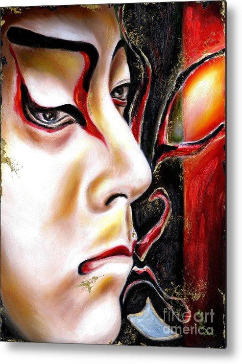 Kabuki Metal Print featuring the painting Kabuki Three by Hiroko Sakai