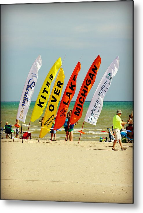 Collections By Carol Metal Print featuring the photograph Kites Over Lake Michigan - Two Rivers Wi by Carol Toepke