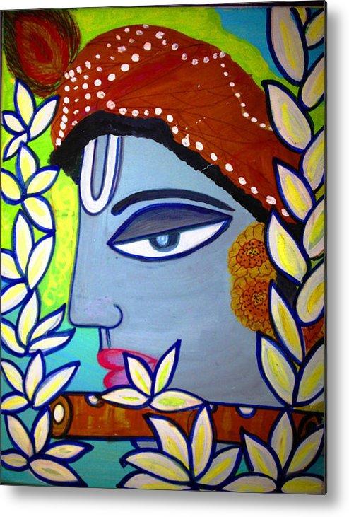 Krishna Painting Metal Print featuring the painting Krishna Playing Flute by Madhuri Krishna
