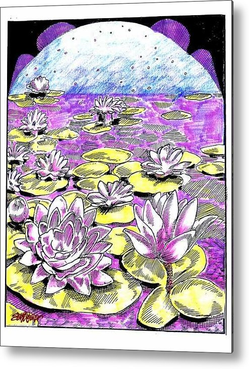 Lilies Of The Lake Metal Print featuring the drawing Lilies Of The Lake by Seth Weaver