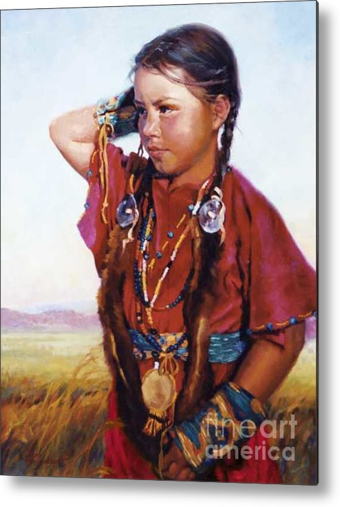 Indian Metal Print featuring the painting Little American Beauty II by Jean Hildebrant
