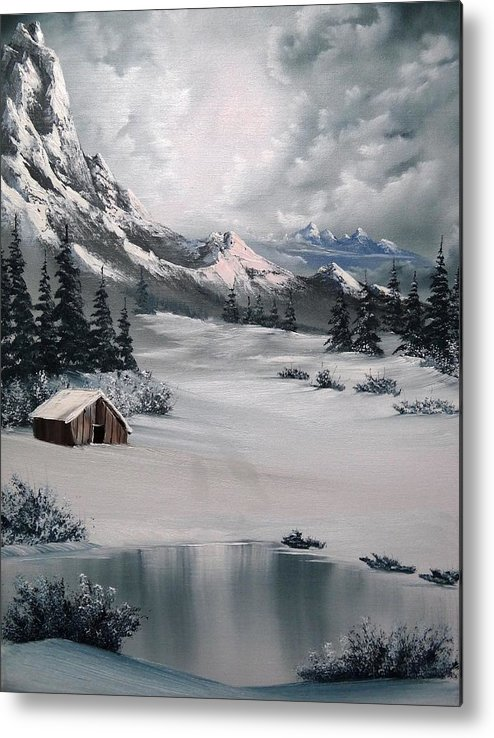 Landscape Metal Print featuring the painting Lonely Cabin by John Koehler