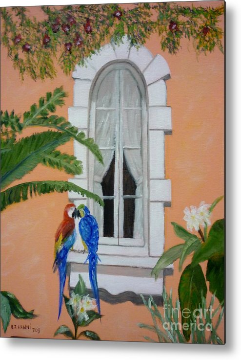 Window Metal Print featuring the painting Love At First Peck by Beverly Hanni