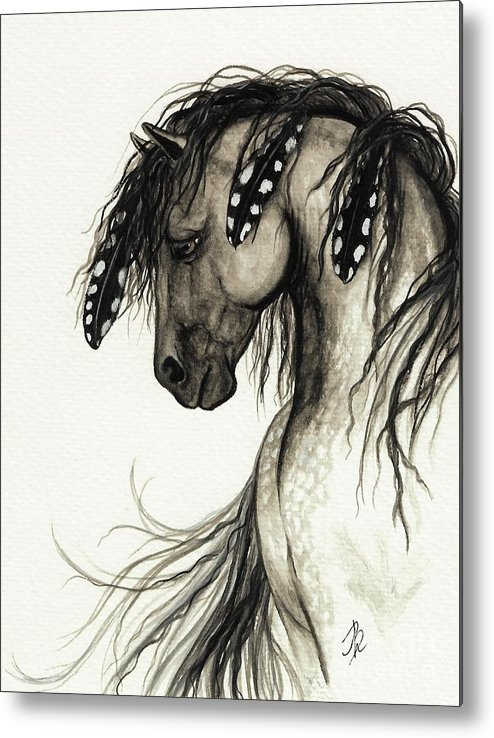 Curly Horse Breed Metal Print featuring the painting Majestic Mustang Horse Series #51 by AmyLyn Bihrle