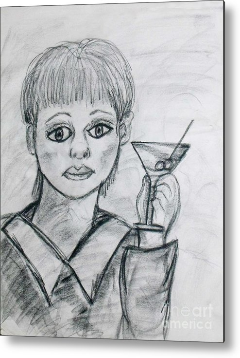 Woman Drinking Metal Print featuring the drawing Martini Girl by Catherine Ratliff