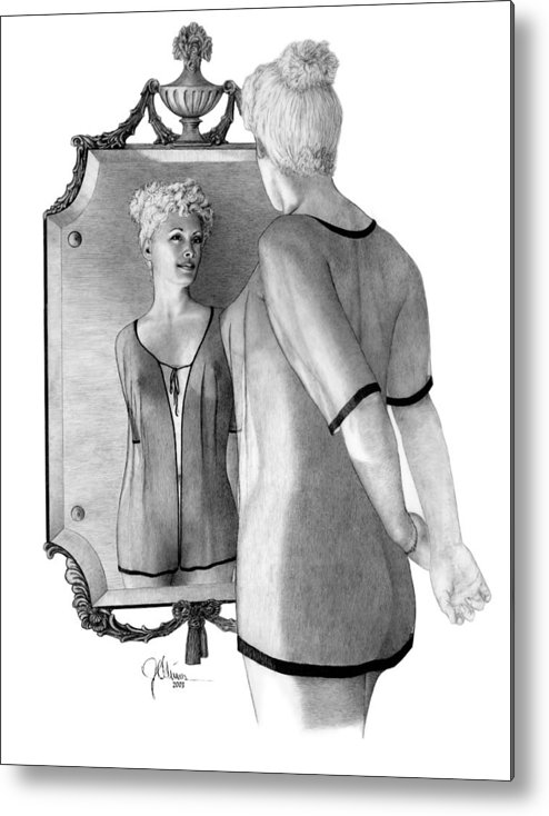 Pencil Drawing Print Metal Print featuring the drawing Mirror Image by Joe Olivares