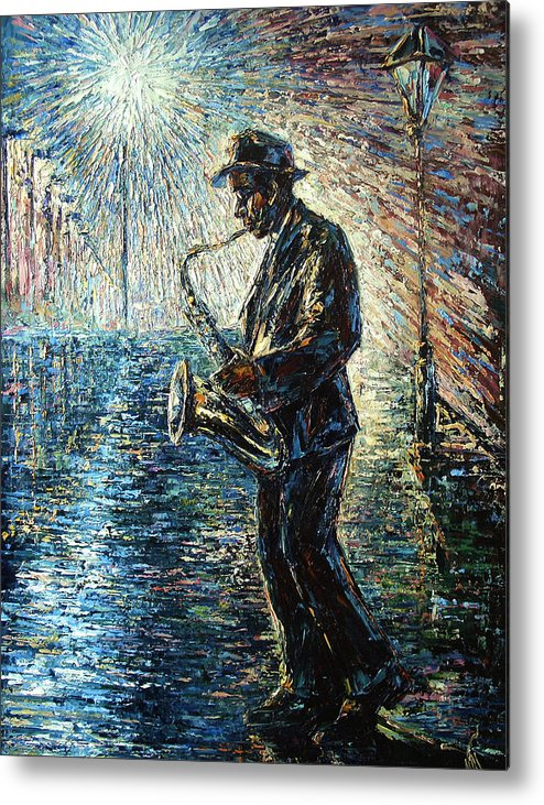 Impressionism Metal Print featuring the painting Moonwalk Solo by Natasha Mylius