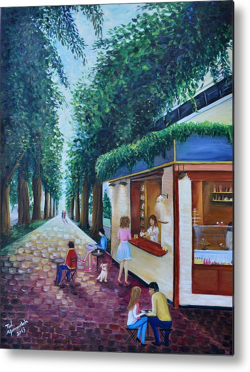 Boulevard Metal Print featuring the painting Morning In Tel Aviv by Tal Alperovitch