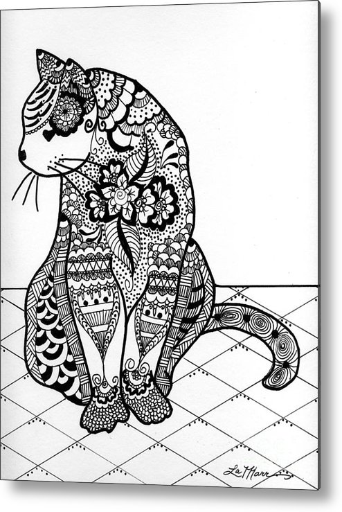 Cat Metal Print featuring the drawing My Cat by Lamarr Kramer
