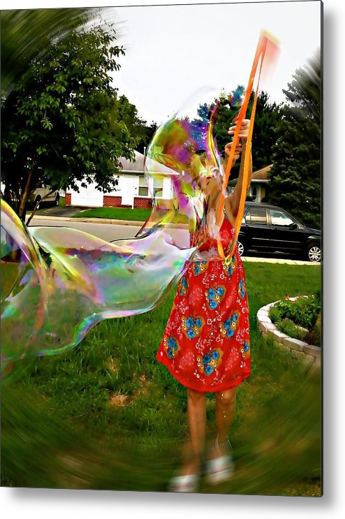 Original Photo Of Me Dreaming And Spinning A Rainbow Done With Mixed Media On Glossy Photo Paper. Colors Are Green Metal Print featuring the photograph My Rainbow Dreams by Desline Vitto