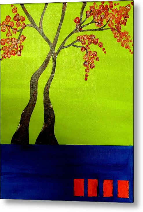 Neon Metal Print featuring the painting Neon Spring - 3 by Shweta Sinha