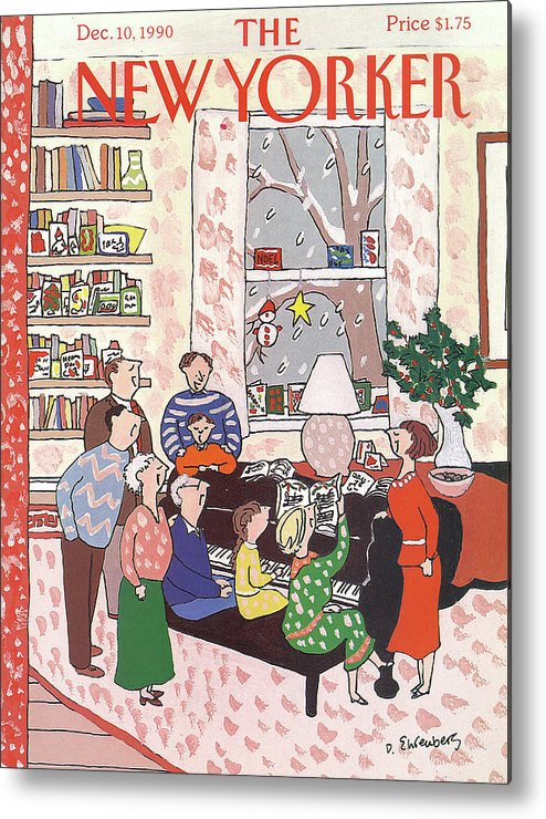 (a Family Gathers Around A Piano As They Sing Christmas Carols.) Entertainment Metal Print featuring the painting New Yorker December 10th, 1990 by Devera Ehrenberg