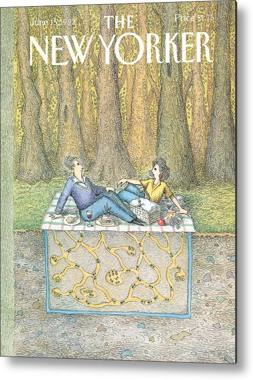 A Couple Enjoy A Romantic Picnic Metal Print featuring the painting New Yorker June 15th, 1992 by John O'Brien